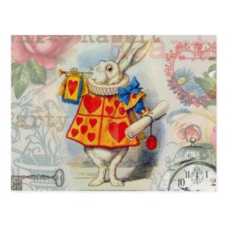 白いウサギのハート ポストカード