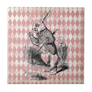 白いウサギのピンクのダイヤモンドのタイル タイル