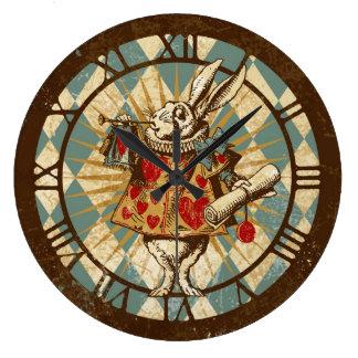 白いウサギのヴィンテージアリス ラージ壁時計