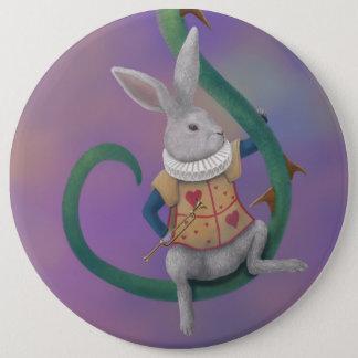 白いウサギの不思議の国のばら色のとげ 15.2CM 丸型バッジ