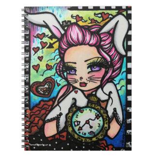 白いウサギの不思議の国のハートの女の子のファンタジー ノートブック