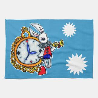 白いウサギの壊中時計 キッチンタオル