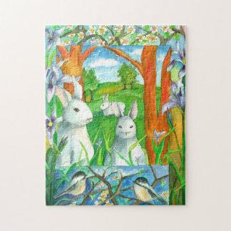 白いウサギの《鳥》アメリカゴガラの鳥の春の水彩画 ジグソーパズル