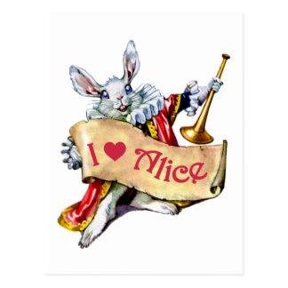 白いウサギはアリスのための彼の愛を宣言します ポストカード