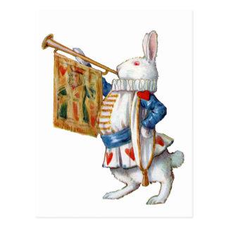 白いウサギは彼の角を吹きます ポストカード