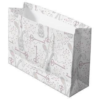 白いウサギ及び合い鍵の不思議の国パターン ラージペーパーバッグ