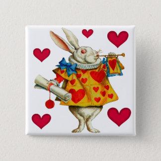 白いウサギ1 5.1CM 正方形バッジ
