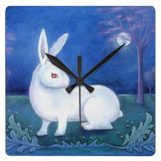 """""""白いウサギ""""の柱時計 スクエア壁時計"""