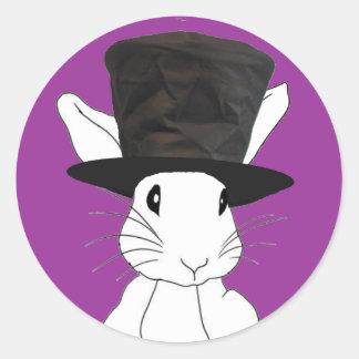 白いウサギ ラウンドシール