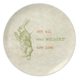 白いウサギ、不思議の国のアリス 皿