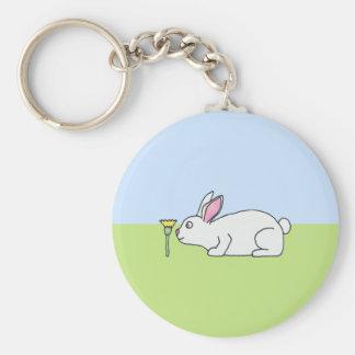 白いウサギ。 芝生 キーホルダー