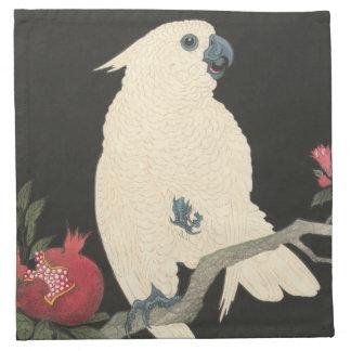 白いオウム-日本のなファインアートの布のナプキン ナプキンクロス