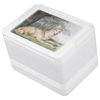 白いオオカミのヴィンテージの芸術 IGLOOクーラーボックス