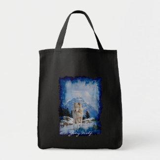白いオオカミの野性生物の運バッグ トートバッグ