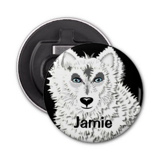 白いオオカミの野生動物の絵 栓抜き