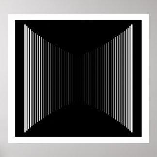 白いオップアートの縦線黒い進歩論者01で ポスター