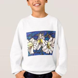 白いオニユリの花のステンドグラスのデザインの芸術 スウェットシャツ