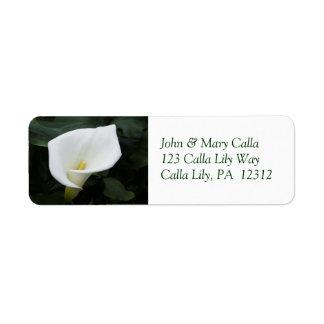 白いオランダカイウユリの差出人住所ラベル ラベル