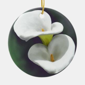 白いオランダカイウユリの花 セラミックオーナメント