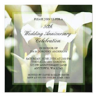 白いオランダカイウユリ第50の結婚記念日 13.3 スクエアインビテーションカード