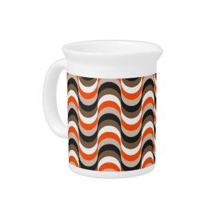 、白いオレンジ、ブラウンのレトロの五十年代の抽象美術 ピッチャー