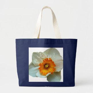 白いオレンジJonquil ラージトートバッグ