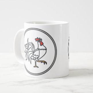 白いオンドリ-魚の車海老のカニのコレクション ジャンボコーヒーマグカップ