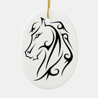 白いオーナメントの馬頭部の黒の記号 セラミックオーナメント