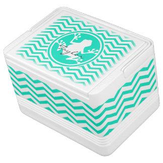 白いカエル; 水緑のシェブロン IGLOOクーラーボックス