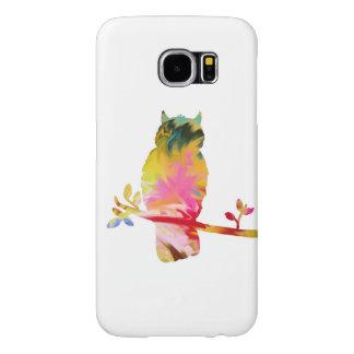 白いカラフルなフクロウの携帯電話カバー SAMSUNG GALAXY S6 ケース