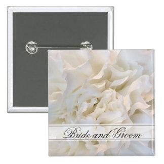白いカーネーションの花の結婚式 5.1CM 正方形バッジ
