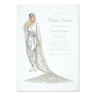 白いガウンのエレガントな花嫁のヴィンテージの花嫁 カード