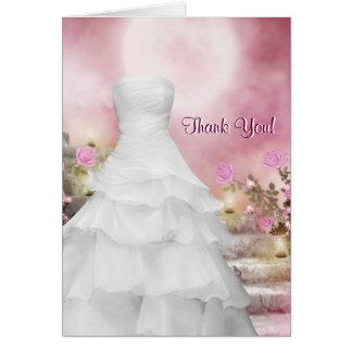 白いガウンのピンクのバラのサンキューカード ノートカード