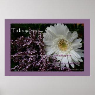 白いガーベラのデイジーの花あなた自身があるためには印刷して下さい ポスター