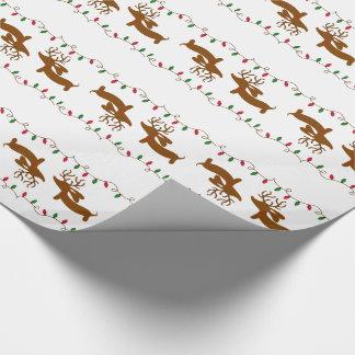 白いギフトの包装紙のトナカイのダックスフント ラッピングペーパー