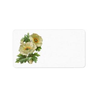 白いケシのヴィンテージの花柄の宛名ラベル ラベル
