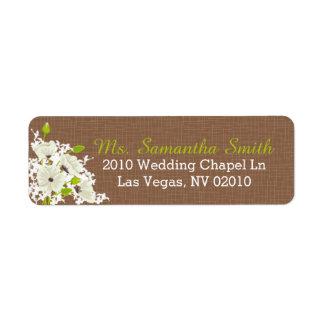 白いケシの花束の結婚式のラベル ラベル