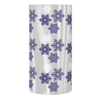 白いサテンの青い雪片 LEDキャンドル
