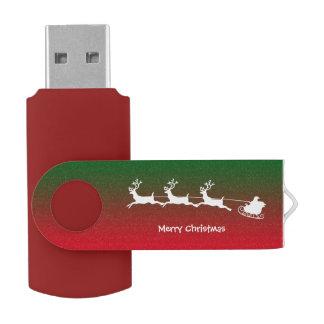 白いサンタのシカのクリスマスのカートUSBのフラッシュ USBフラッシュドライブ