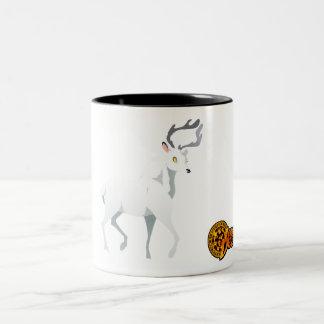 白いシカのマグ ツートーンマグカップ