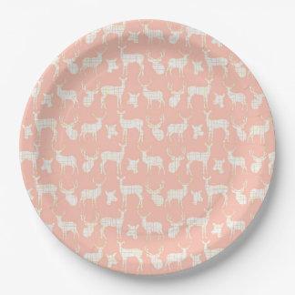 白いシカの紙皿とのピンク ペーパープレート