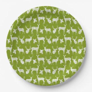 白いシカの紙皿との緑 ペーパープレート
