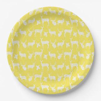 白いシカの紙皿との黄色 ペーパープレート