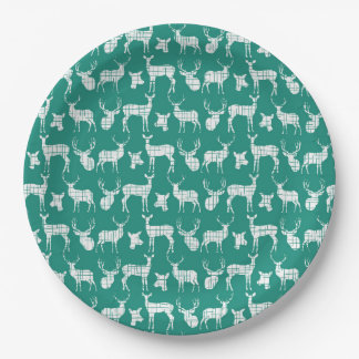 白いシカの紙皿を持つティール(緑がかった色) ペーパープレート