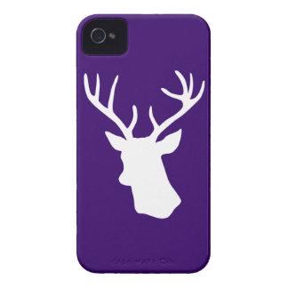 白いシカの頭部のシルエット-紫色 Case-Mate iPhone 4 ケース