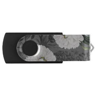 白いシャクヤクの灰色のロマンチック USBフラッシュドライブ