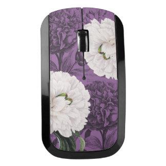 白いシャクヤクの紫色のロマンチック ワイヤレスマウス