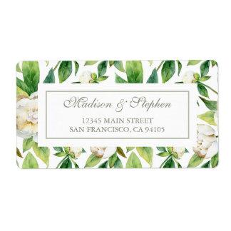白いシャクヤク及び葉の水彩画-結婚式 ラベル