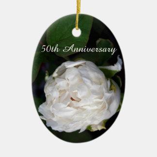 白いシャクヤク-第50記念日 セラミックオーナメント