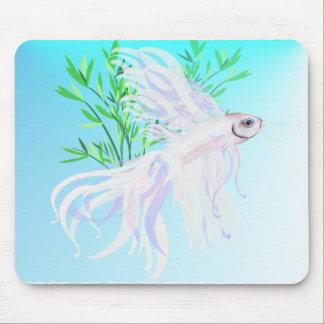 白いシャムの戦いの魚のマウスパッド マウスパッド